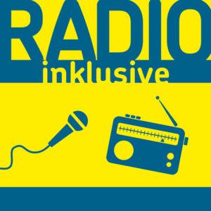 Bildbeschreibung: Zu sehen ist das quadratische Logo von Radio Inklusive. Blau auf gelb steht oben Radio Inklusive. Unten sind symbolische Darstellungen eines Mikrophones und eines Radios zu sehen.
