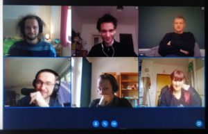 Eine weitere Videokonferenz der Redaktion. Wieder sind 6 Webcambilder zu sehen. Diesmal von anderen Redaktionsmitgliedern